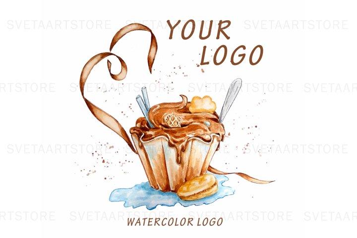Cupcake Logo, Watercolor Logo