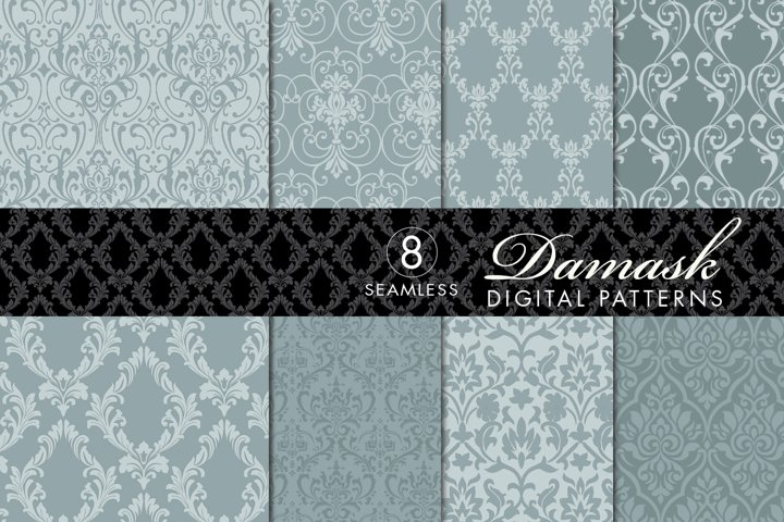 8 Seamless Damask Patterns - Light & Dark Gray Blue