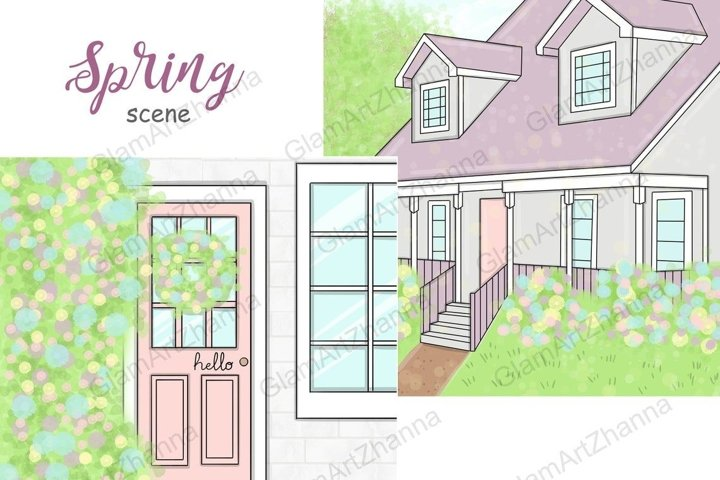 Spring SCENE Hand Drawn Rainbow Pink Purple Clipart - PNG