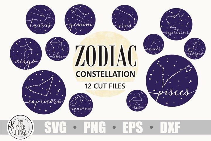 Zodiac constellation svg bundle, Birthday svg, Zodiac sign