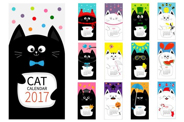 Cute cat calendar 2017
