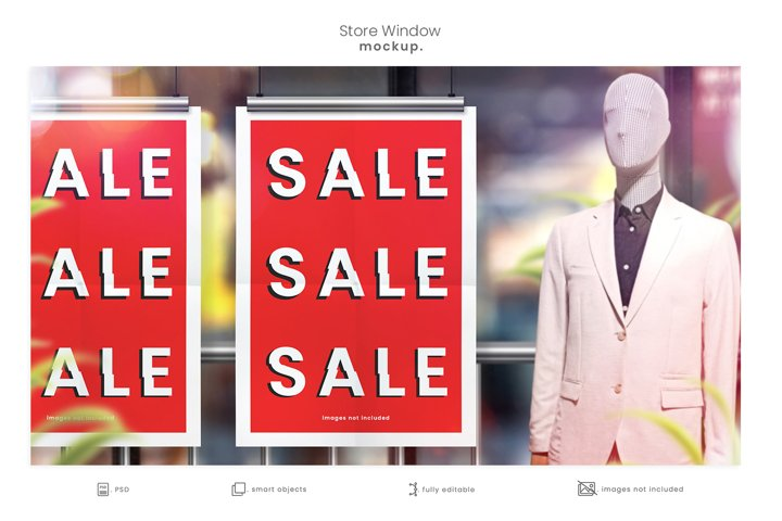 Store Window Hanging Poster Mockup