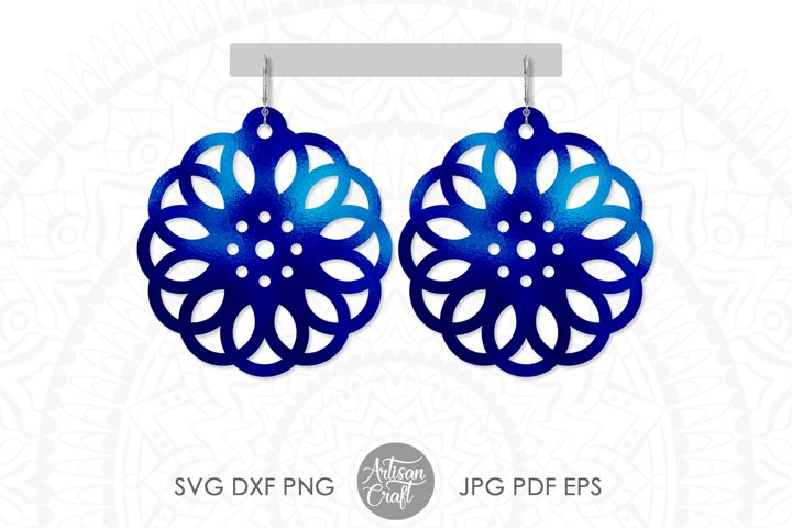 Geometric earring SVG, Leather earring template, Cut file example