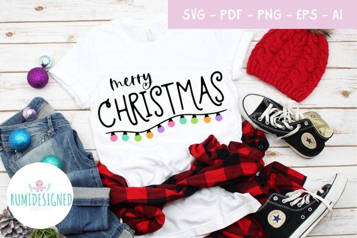 Merry Christmas Lights Svg Cut File