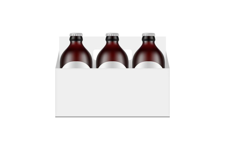 Paper Carrier Packaging Box Mockup With Small Beer Bottles