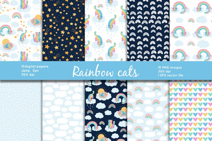 Rainbow cats with seamless patterns and clipart