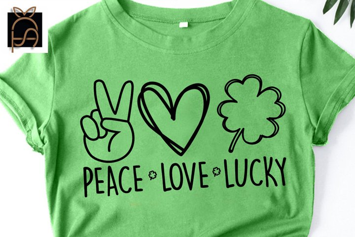 Peace Love Lucky - Peace Love Luck-Shamrock SVG DXF EPS PNG