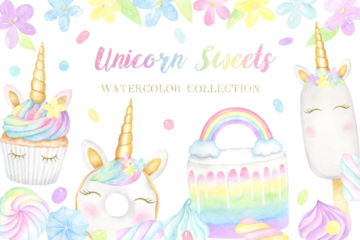 Unicorn Sweets Watercolor Collection