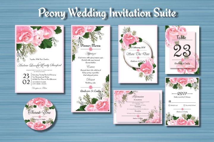 Peony Floral Wedding Invitation Suite