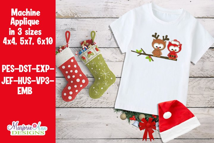 Christmas Owls Applique/Embroidery Design
