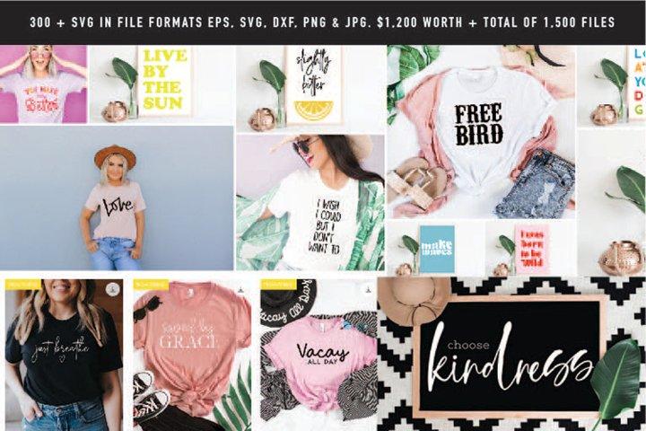 HUGE SALE! 300 SVG Design Bundle 1,500 files in 5 formats