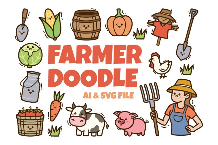 Farmer Kawaii Doodle Illustration