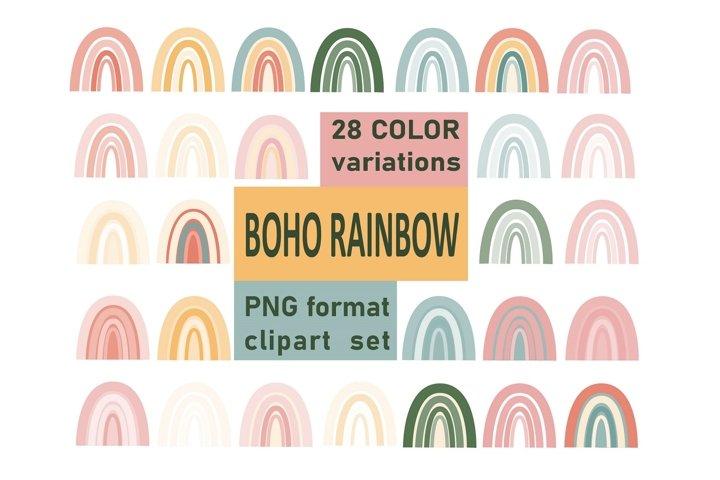 Vintage Boho Rainbow clipart, PNG printable set, 28 elements