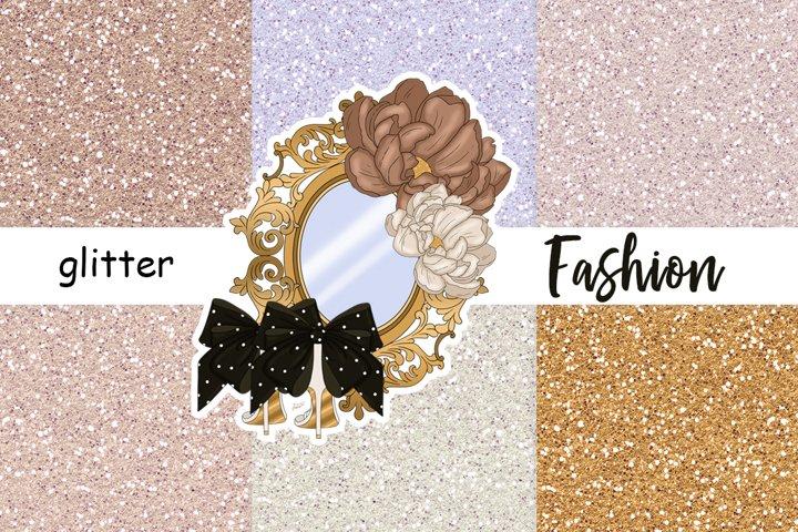 Fashion GLITTER Gold Glitter Nude Digital Paper Sticker JPEG