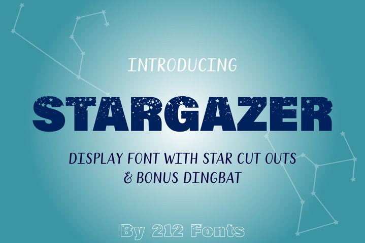 212 Stargazer Display Font and Constellations Dingbat OTF