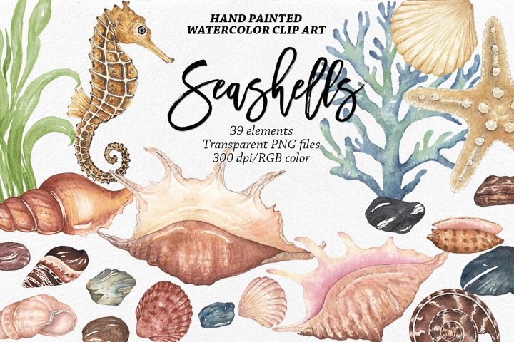 Watercolor Seashells Clip Art , Nautical Clipart