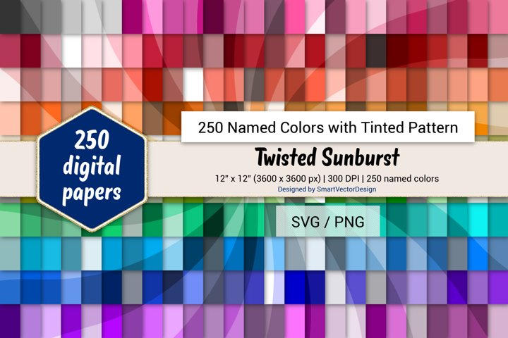 Twisted Sunburst Digital Paper - 250 Colors Tinted