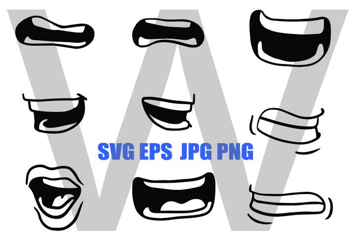 Cartoon Mouth Design Set 1- SVG EPS JPG PNG