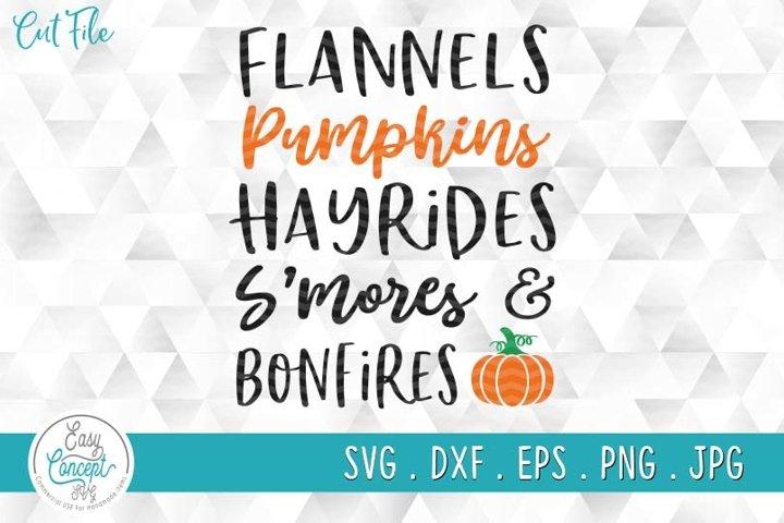 Flannels Pumpkins Hayrides Smores & Bonfires SVG