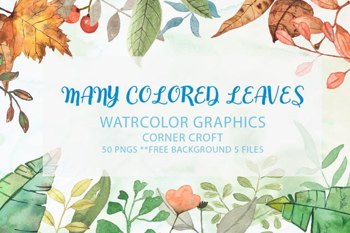 Watercolor clip art,Many colored leaves
