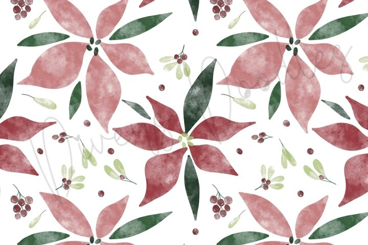 Hand Painted Watercolor Poinsettia Seamless Pattern