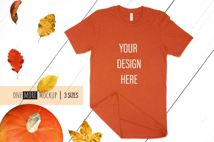 Fall T-Shirt Mockup I Bella Canvas 3001 Heather Autumn