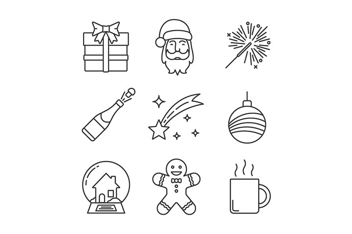 Christmas and New Year linear icons set