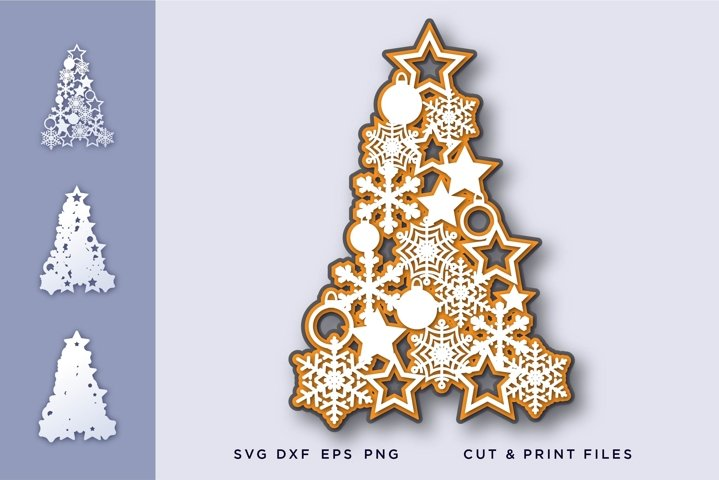 Christmas tree svg, Snowflakes 3d svg - Christmas tree layer