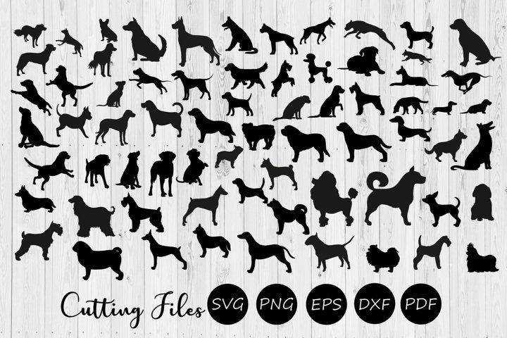 68 Dog silhouettes super bundle | SVG Cut file |