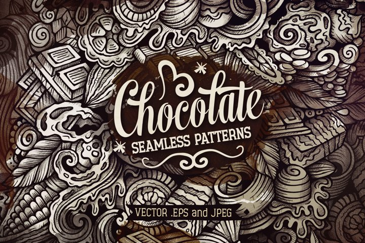 6 Chocolate Graphics Doodle Patterns