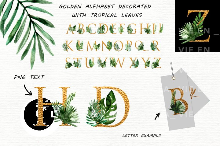 Watercolor clipart with tropical leaves. example 1