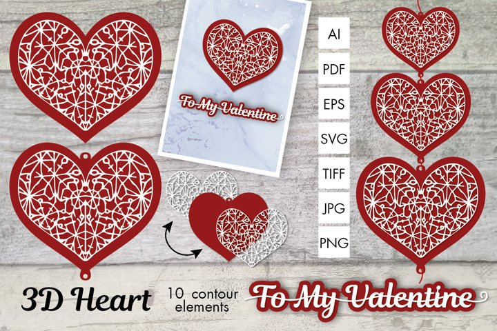 3D Heart Contours for gifts, cards, designs
