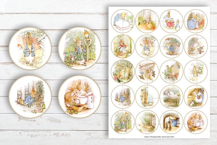 Peter Rabbit Circles Collage Sheet for Jewelry Making