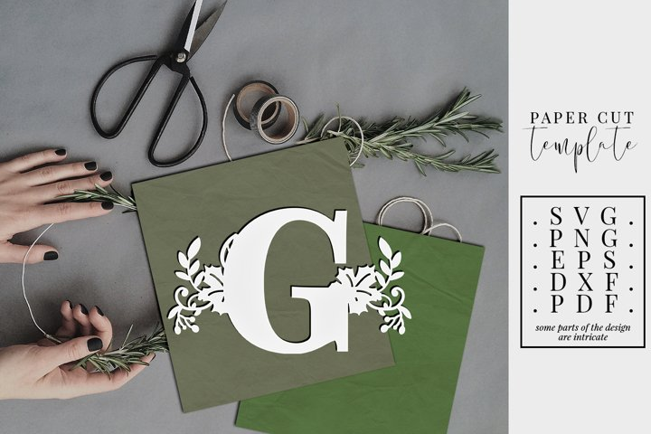 Fall letter G, single initial paper cut template, autumn svg