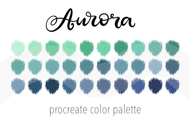 Procreate color palette Aurora. Swatches for iPad app.