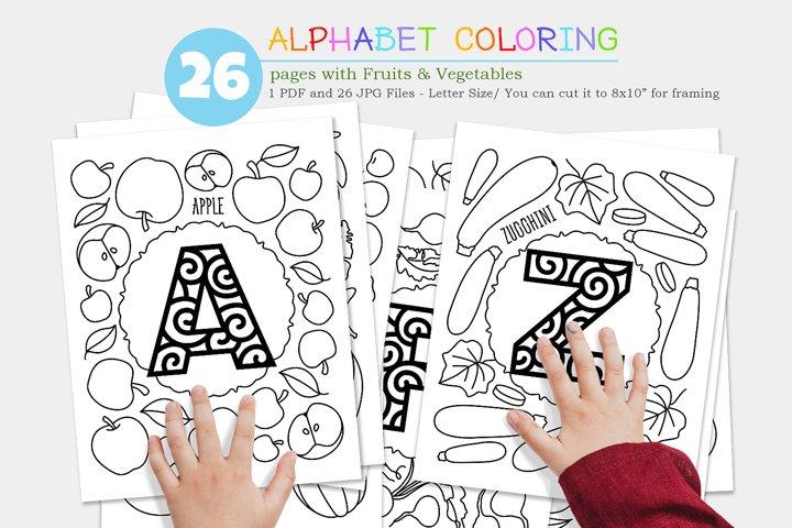 Alphabet. A-Z bundle. 26 Coloring pages.