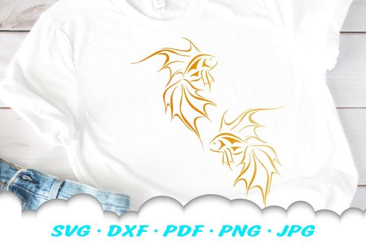 Tribal Goldfish Fish SVG DXF Cut Files