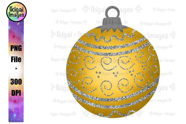 Yellow Xmas Ornament, Glitter Christmas Bauble, PNG File