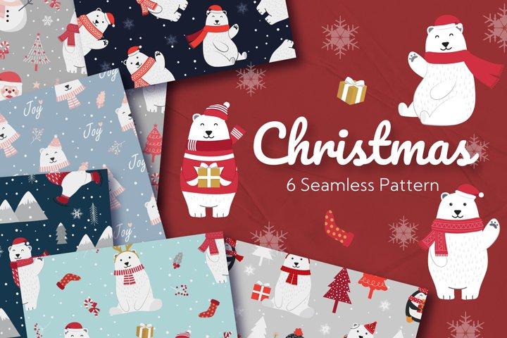 Christmas Seamless Pattern Polar Bear