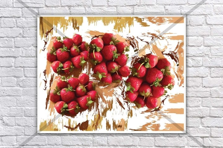 Strawberry print, Food print, Fruit print, Fruit and vegetable prints, Wall mural, Kitchen prints and posters, Modern Minimal, Art Printable