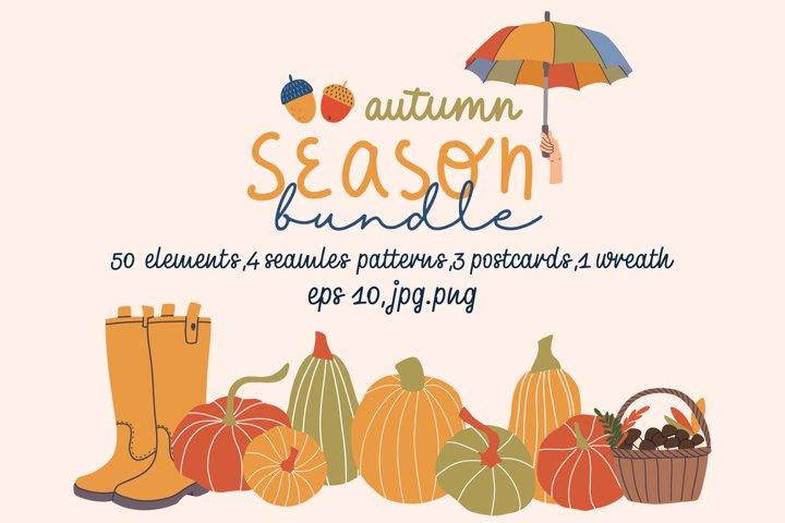 Autumn season vector hand drawn bundle