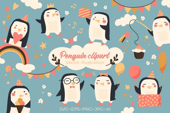 Penguin clipart. Cute penguin. Penguin bundle
