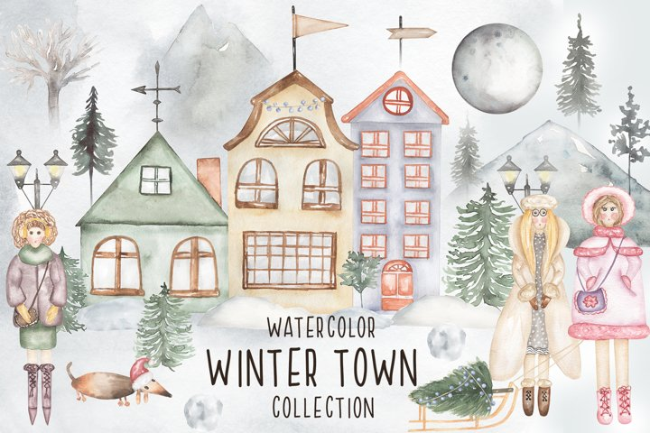 Watercolor Winter Town Collection