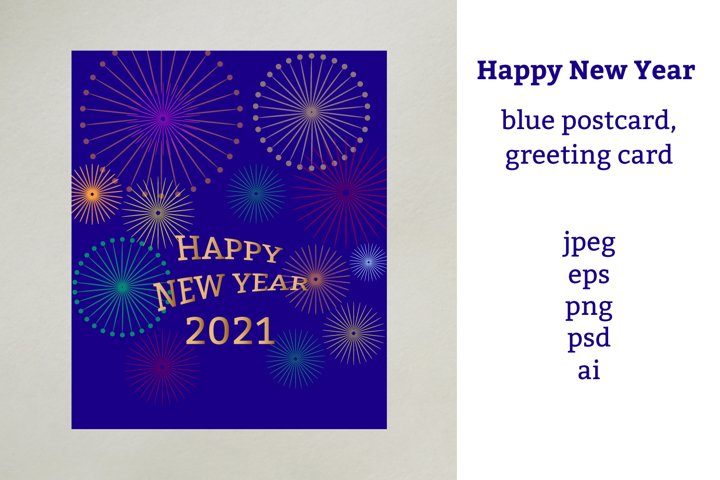 Happy New Year blue postcard, greeting card