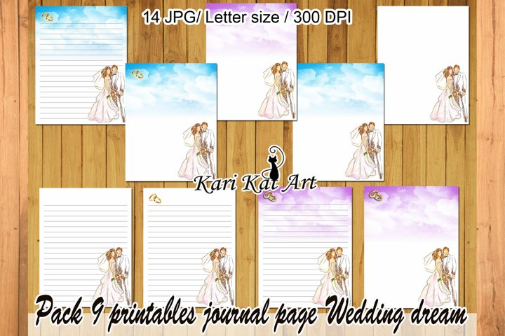 Pack of 9 sheets of diary Wedding dream violet and blue