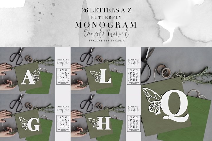 Bundle Of 26 A-Z Butterfly Monogram Paper Cut Templates, SVG