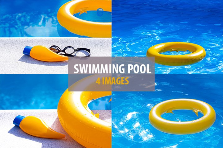 Swimming pool, inflatable yellow ring and sunscreen lotion.