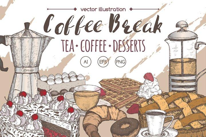 Coffee, tea, dessert set