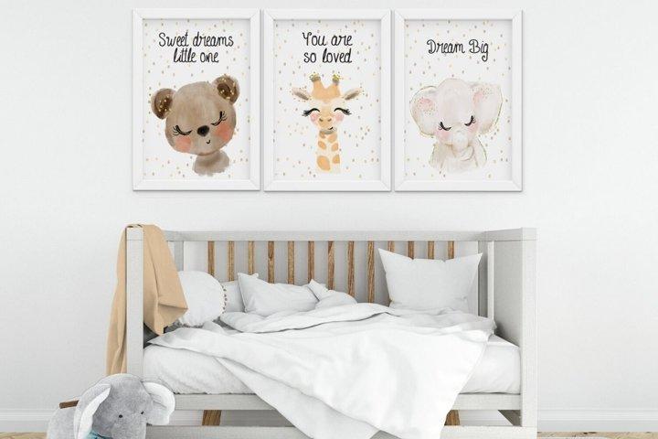 Nursery Wall Art, Set of 3 Nursery Wall Art