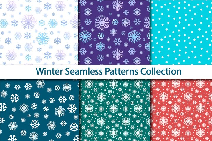 snowflakes watercolor seamless winter pattern